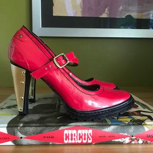 Michael Antonio Red Patent Gold Mary Jane Heels